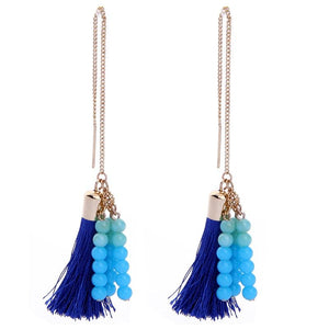 Blue Threated Tassels Earrings