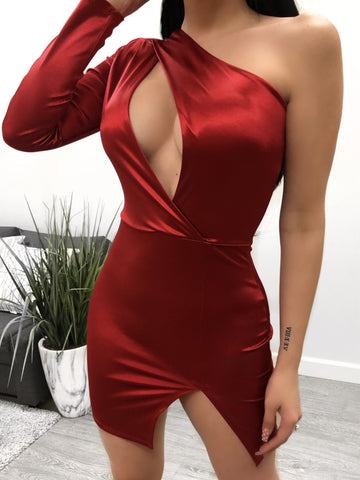 Alexis Satin Dress (red)