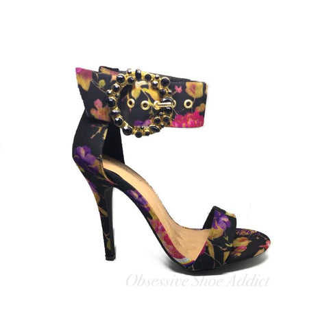 Black Multi Floral Heel
