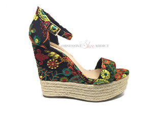 Embroidered Black Multi Color Floral Wedge