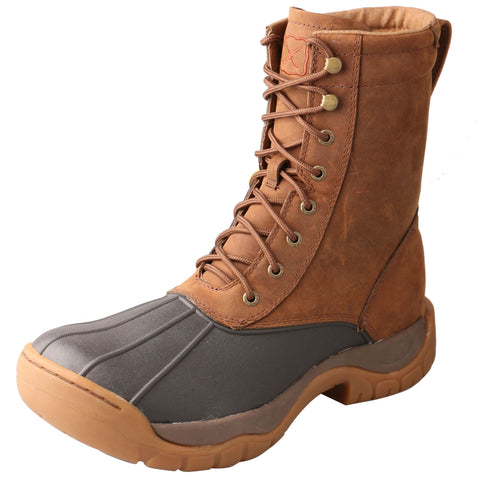 Twisted X Men's Lace-Up Round Toe Brown Rubber Outdoor/Travel Boots
