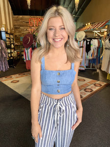 ADELINE CHAMBRAY CROP TOP