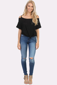 COLD SHOULDER DISTRESSED T-SHIRT