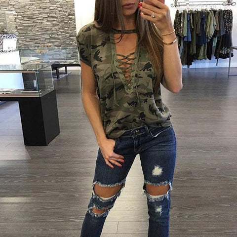 CAMO STRINGED TOP