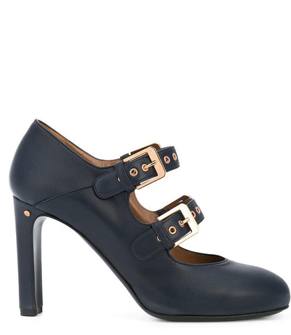 Navy Leather Double Buckle Pump