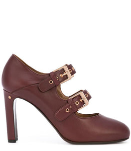 Wine Leather Double Buckle Pump