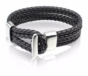 Genuine Leather Braided Bracelet with Stainless Steel Hook Closure and Accent