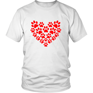 Hearts and Paws t-shirt for animal and pet lovers