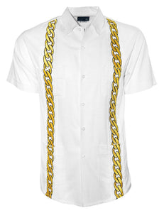 LUX BLANCO WITH GOLD CUBAN LINKS GUAYABERA
