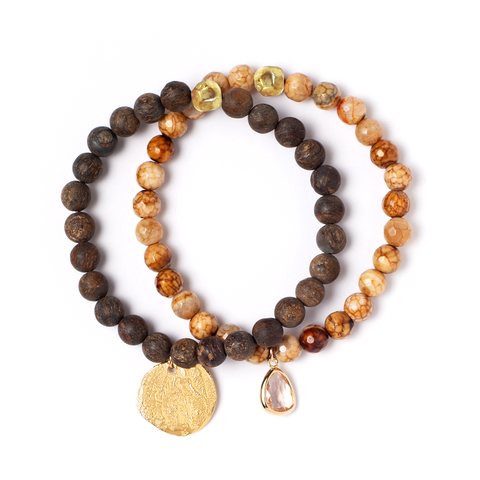 LYRA COCO BRONZE STRETCH BRACELET SET