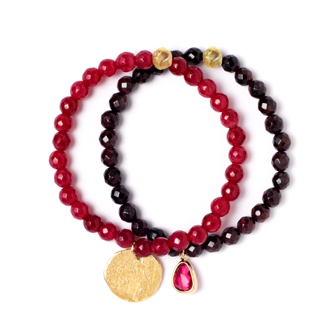 LYRA CRANBERRY STRETCH BRACELET SET