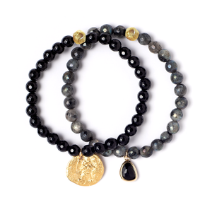 LYRA BLACK STRETCH BRACELET SET