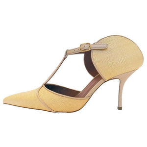 Malone Souliers Imogen Leather-Trimmed Raffia Pumps
