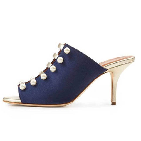 Malone Souliers Zada Navy Mule with Faux Pearls