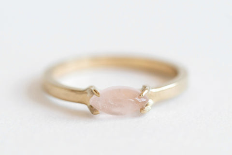 Rose Quartz Marquise Gold Ring