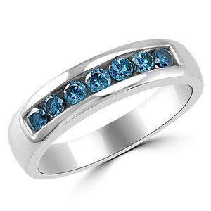 Mens Blue Diamond Wedding Band Ring