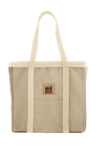 HERBSACK ORGANIC HEMP LINDA PREMIUM CANVAS TOTE BAG IN NATURAL WITH IVORY TRIM