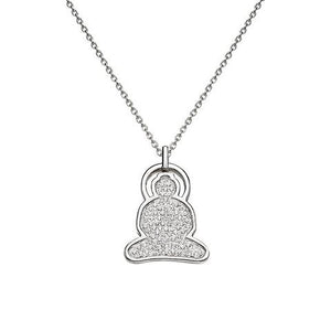 Buddha Necklace in Silver with Cubic Zirconia