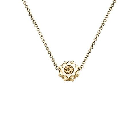 Lotus Flower Necklace in 18k Yellow Gold