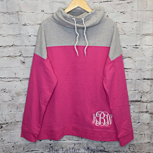 Monogrammed Cowl Neck Pullover