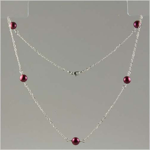 AAA+ Cranberry Pearl Tin Cup Necklace