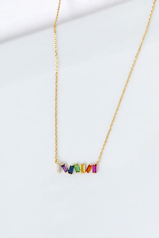 Rainbow Rectangle Stone Necklace