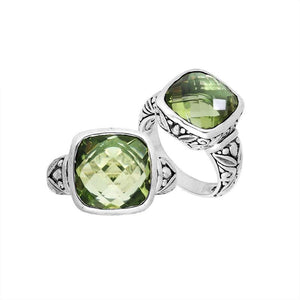 "AR-8004-GAM-9"" Sterling Silver Ring With Green Amethyst"