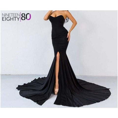 Off Shoulder Wrapped Bust Asymmetric Tail Maxi Dress