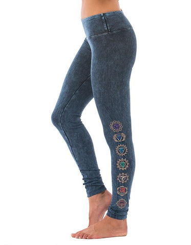 Chakra Long Leggings - Mineral Wash