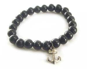BLACK GLASS BEAD BRACELET WITH ANCHOR