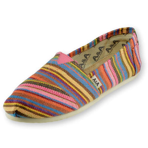 INDIE MULTICOLORED CANVAS SLIP ON SHOES FOR WOMEN