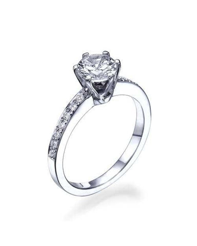 Platinum 6-Prong Crown Classic Style Engagement Rings - 1ct Diamond