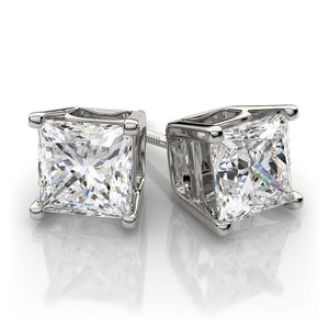 Princess Cut Russian Lab Diamond Solitaire Stud Earrings