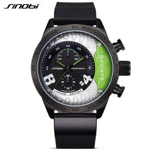 Men's SINOBI Brand Chronograph Waterproof Sports Watch With PU Leather Band
