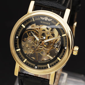 Winner Classic Mechanical Watch Leather Strap