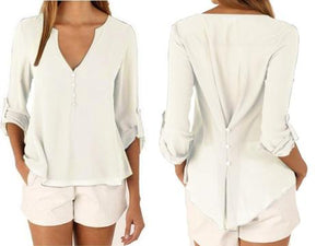 WOMEN'S DEEP V-NECK BUTTON LONG SLEEVE CASUAL CHIFFON BLOUSE | 9TH WAVE APPAREL