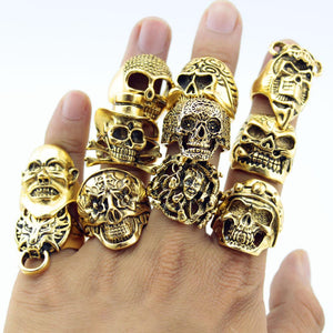 12 Pcs Men's Skull Rings