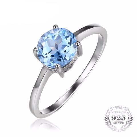 ROUND 1.6CT NATURAL SKY BLUE TOPAZ GENUINE 925 STERLING SILVERRING [4 SIZES]