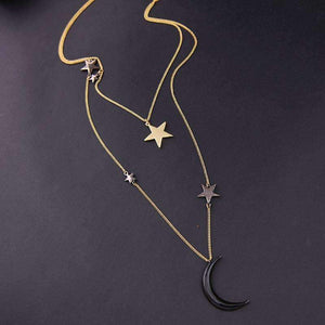 THREE LAYER BLACK VELVET MOON STAR CHOKER-NECKLACE
