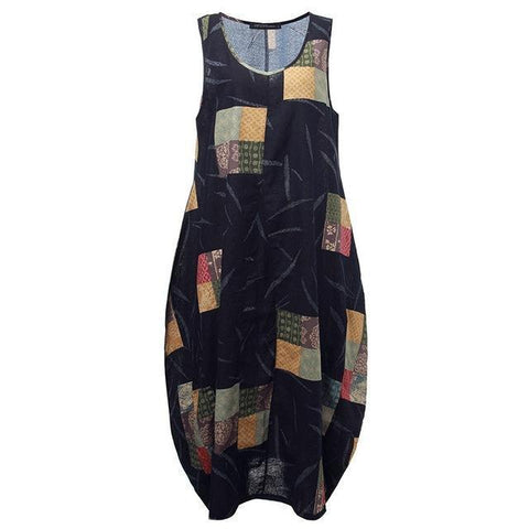 Woman's Sleeveless Maxi Linen Dress. Sizes S-4XL