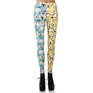 Cartoon - Half Yellow, Half Blue - Printed Leggings