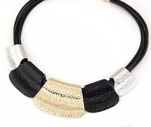 Black and Gold Fashion Statement Necklace