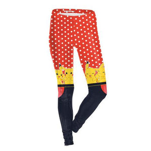 Pokemon Go Pikachu Red Polka Dot Printed Leggings
