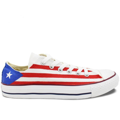 Low Top Sneakers Convers Style Hand Painted Puerto Rico Flag
