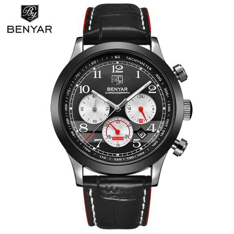 MEN'S LUXURY STYLED CHRONOGRAPH QUARTZ MILITARY LOOK WATCH