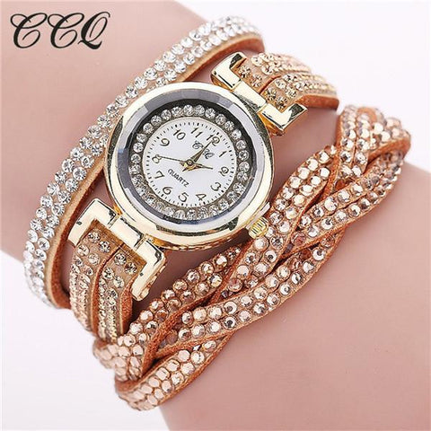 Rhinestone Braided Leather Bracelet Watch