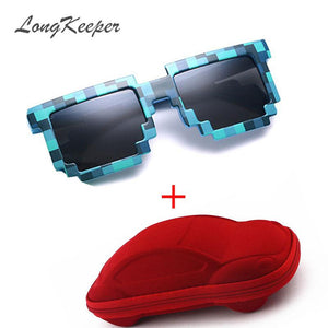 LongKeeper Brand Kids Sunglasses Mosaic Square Boys Girls Pixel UV400
