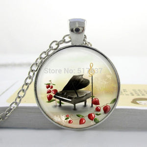 Baby Grand Piano Glass dome necklace
