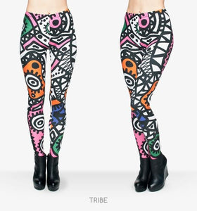 HIGH ELASTICITY TRIBAL TOTEM 3D PRINTED SLIM FIT LEGGINGS