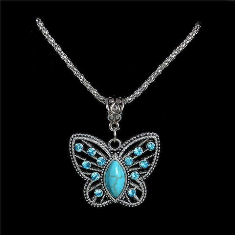 ANTIQUE SILVER TURQUOISE PENDANT NECKLACE